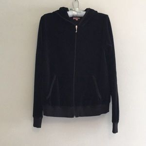 Black velour hoodie by Juicy Couture, size Small